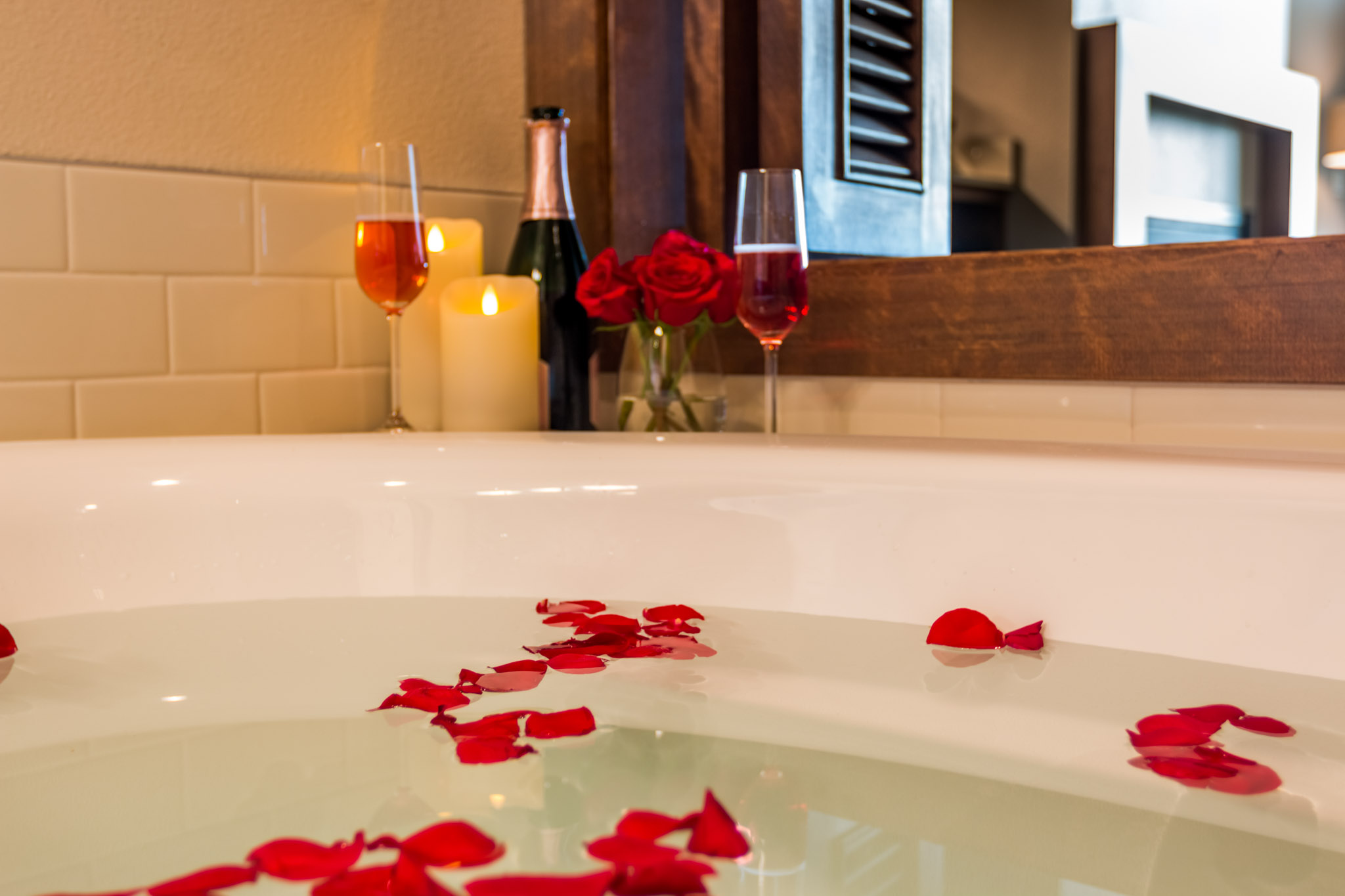 Romantic rose petals in our spa inspired tub