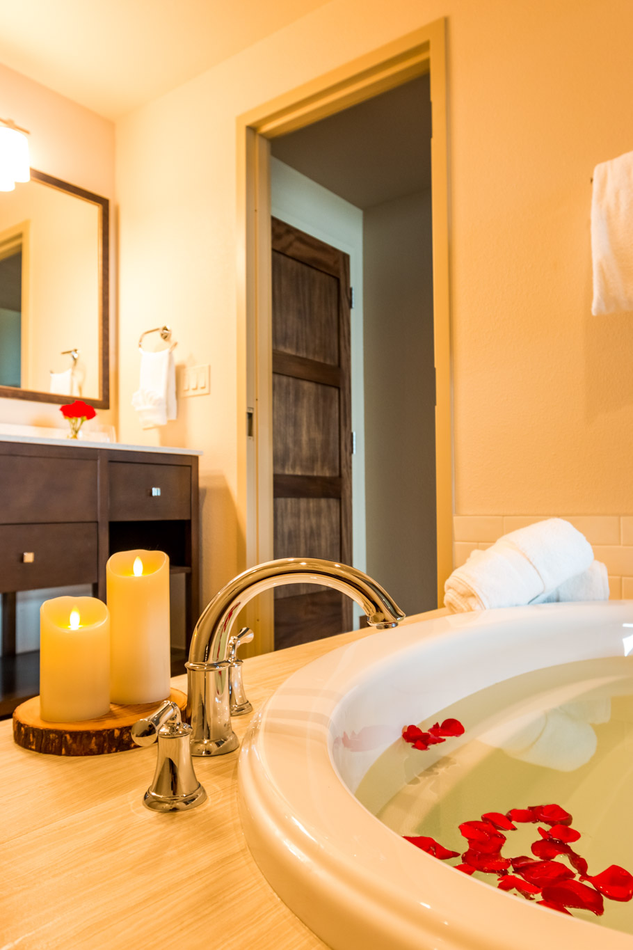 Take a moment to relax in our spa inspired tub