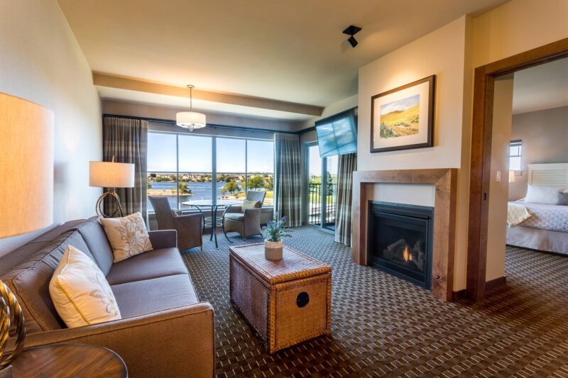 Riverfront King Suite with a stunning fireplace