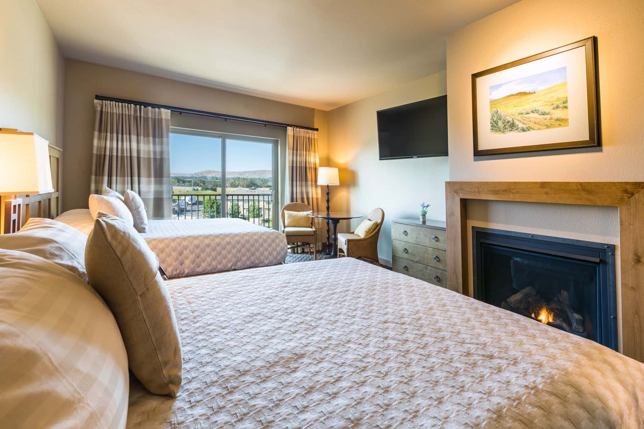 Our guest room with two queen beds overlooking the mountains in Richland, WA