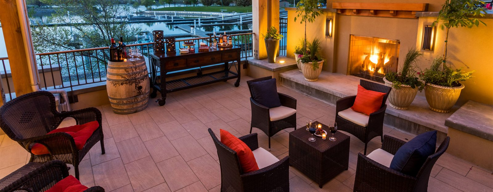 Poolside hotel with fireplace