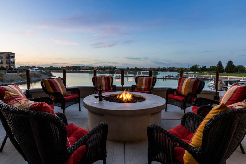 Stunning view at our riverside fire place
