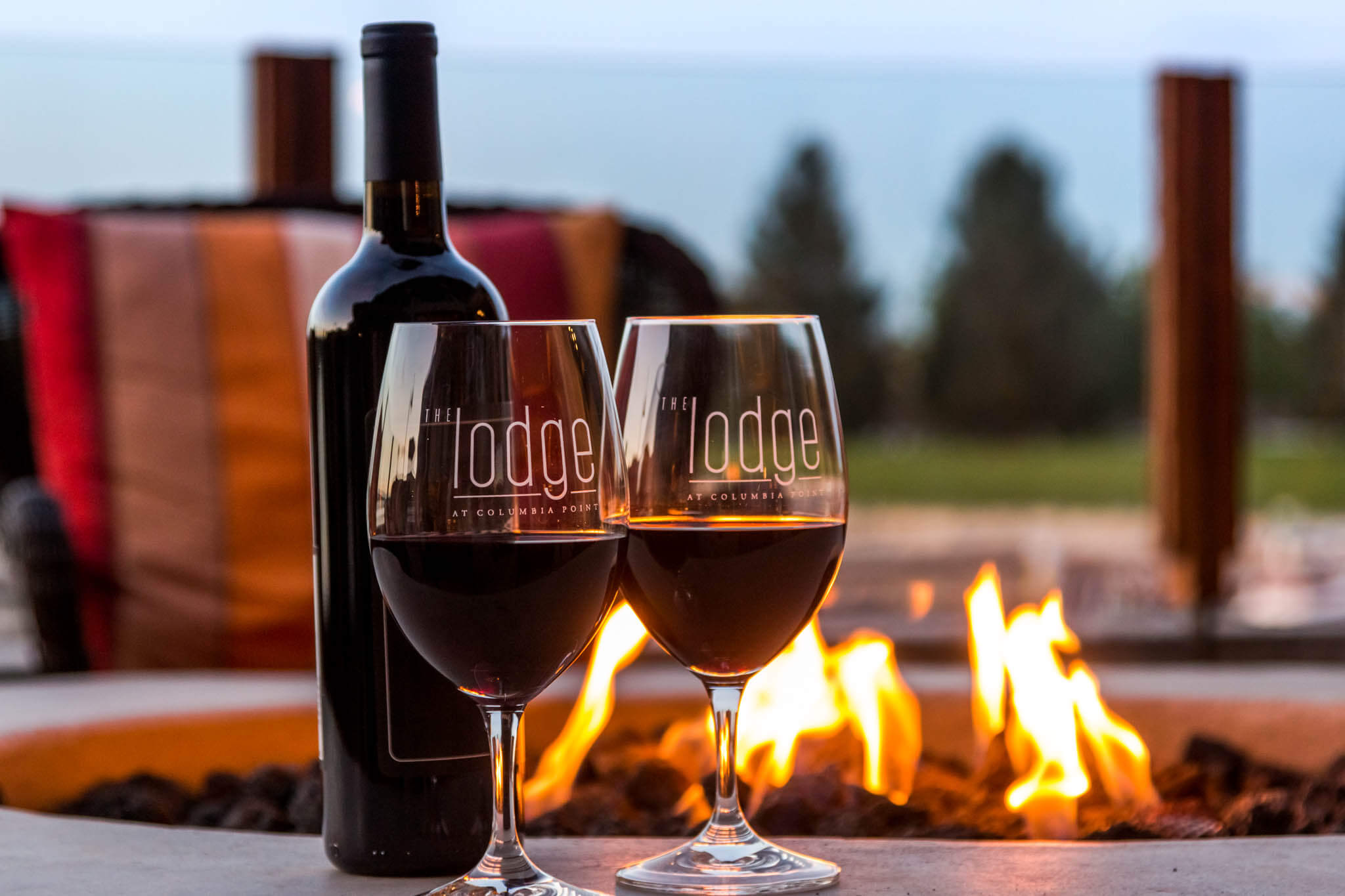 Wine by the fire-pit at the Lodge