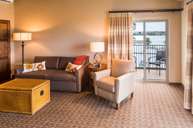 Riverview King suite at the Lodge at Columbia Point