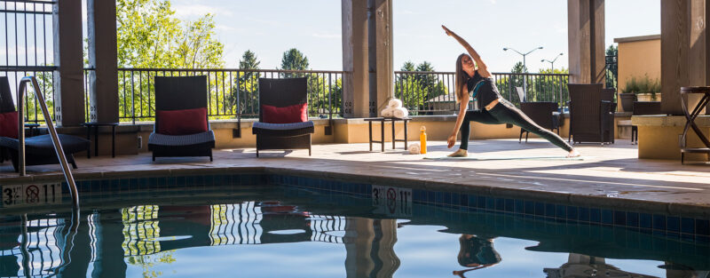 Yoga by the open air pool